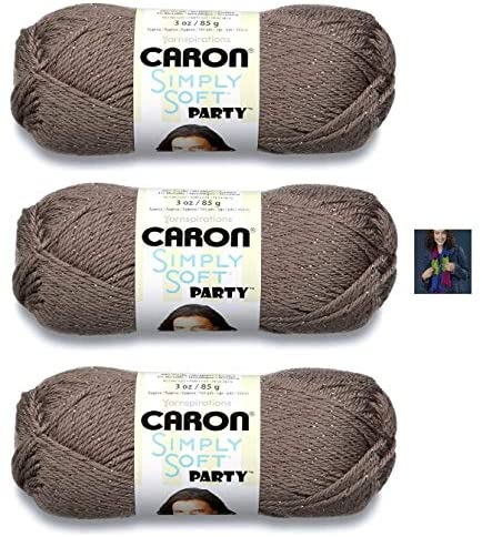 Caron Simply Soft Party Yarn - 3 Pack with Pattern (Chocolate Sparkle)