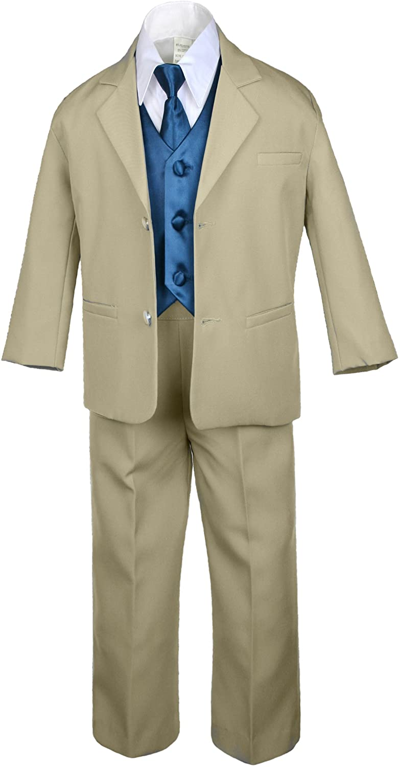 Unotux 7pc Boys Khaki Suits with Satin Green Teal Vest Set Necktie Baby to Teen