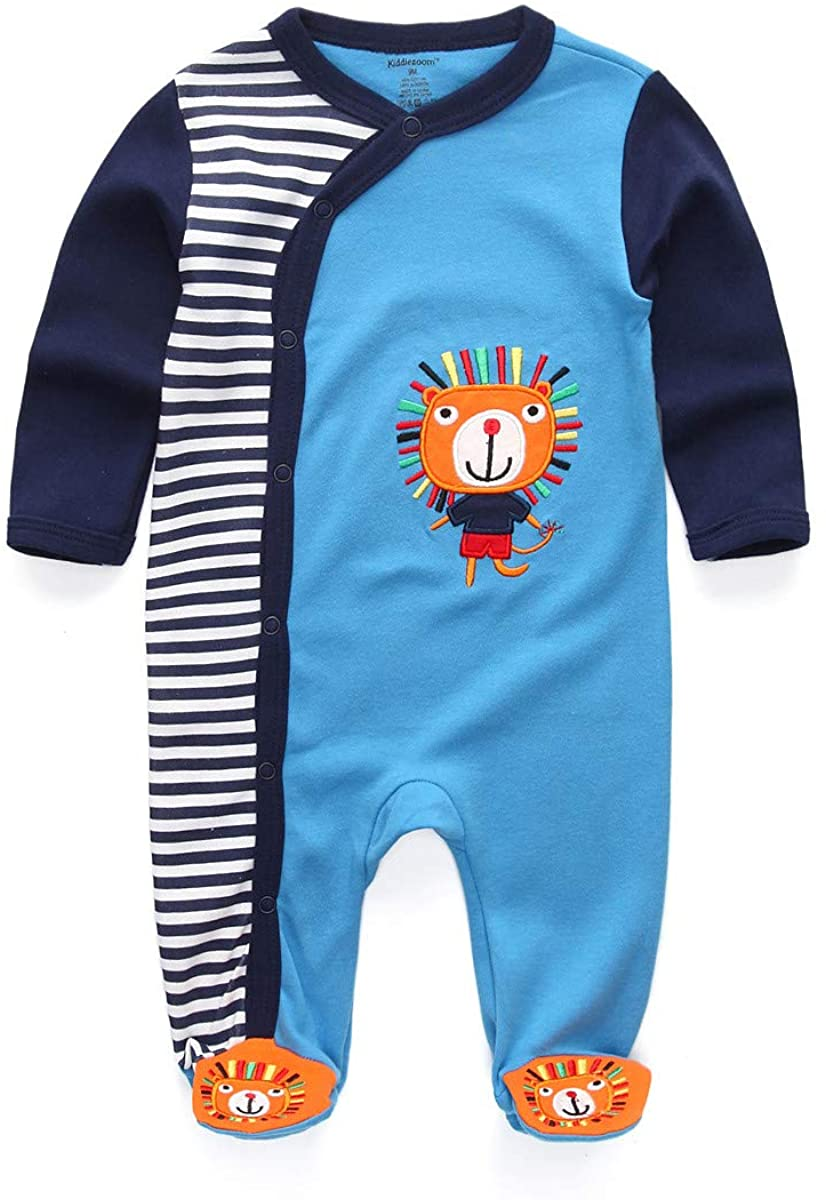 Kiddiezoom Newbron Baby Boy's Rompers Organic Cotton Footed Baby Girl's Junmpsuit Sleep and Play