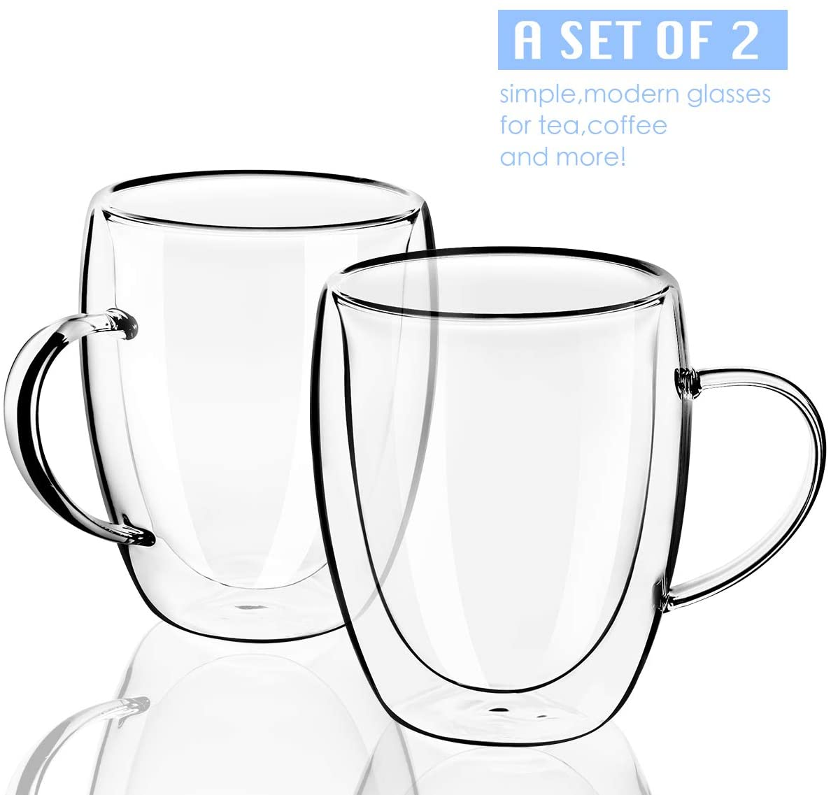 MEWAY 12oz Clear Glass Double Wall Coffee Mugs with handle (12 oz,2)