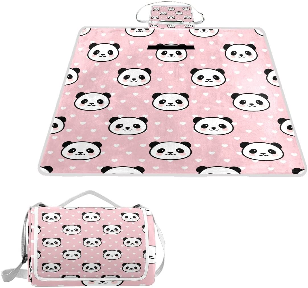 Naanle Cute Panda with Love Heart Picnic Blanket Outdoor Picnic Blanket Tote Water-Resistant Backing Handy Camping Beach Hiking Mat