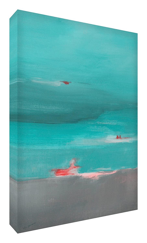 Feel Good Art Print Brightly Coloured Abstract Artist Landscape Val Johnson Aqua from 91x 60x 4cm–Size XL