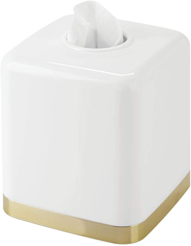 mDesign Modern Square Plastic Disposable Facial Tissue Box Cover and Holder for Bathroom Vanity Countertops, Bedroom Dressers, Night Stands, Desks, Tables - White/Soft Brass