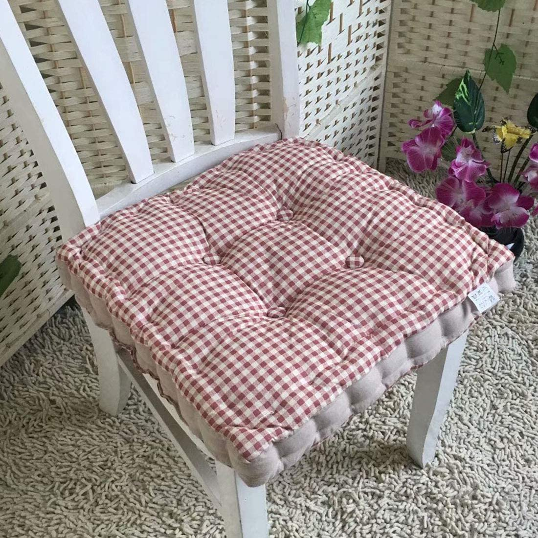 vctops Bohemian Printed Patchwork Chair Pads, 100% Cotton Cover, Square Soft Thicken Dining Seat Cushion (305 Red, 16