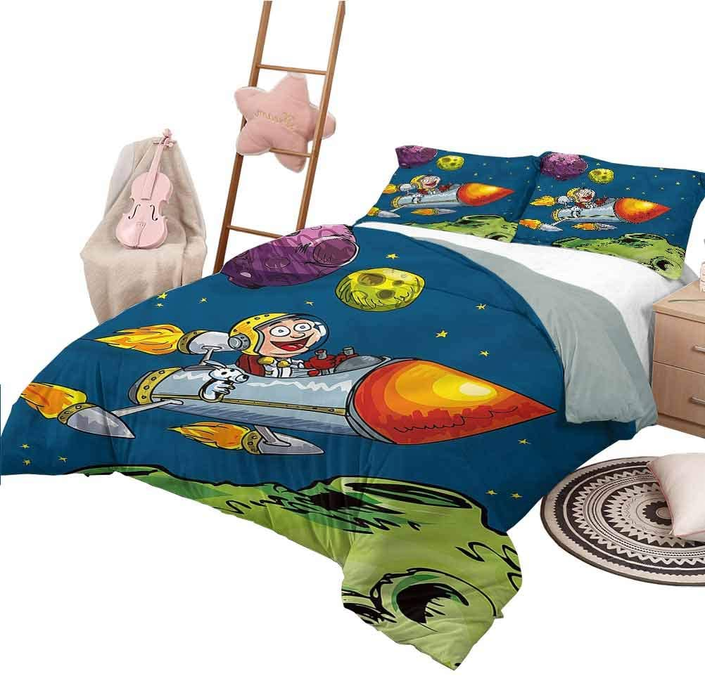 Bed Sheets Queen Size Boys Room Modern Quilt Cover Reversible&Decor Happy Flying Astronaut
