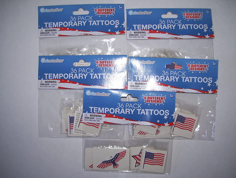 Grinstudios, 36 Pack of Patriotic Temporary Tattoos, (Pack of 5)