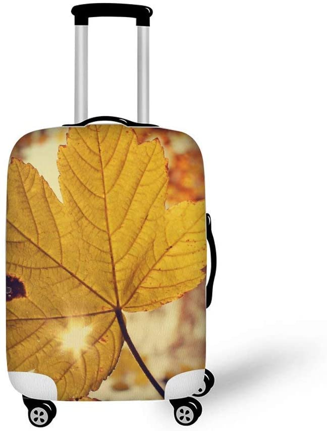 Autumn Maple Leaf Fashionable Baggage Suitcase Protector Travel Luggage Cover Anti-Scratch