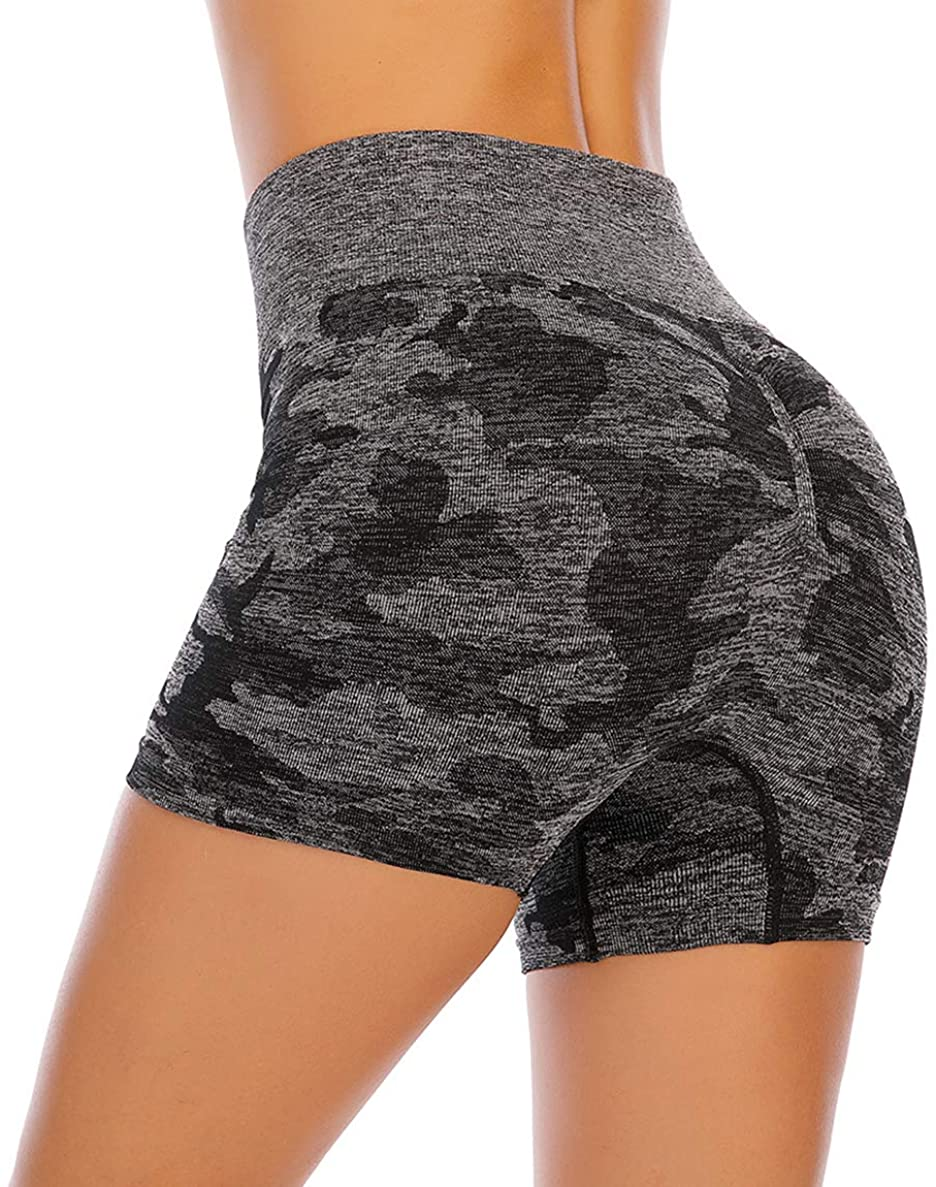Women's High Waisted Yoga Sports Shorts, Runched Booty Gym Workout Running Shorts Tummy Control Butt Lifting Hot Pants