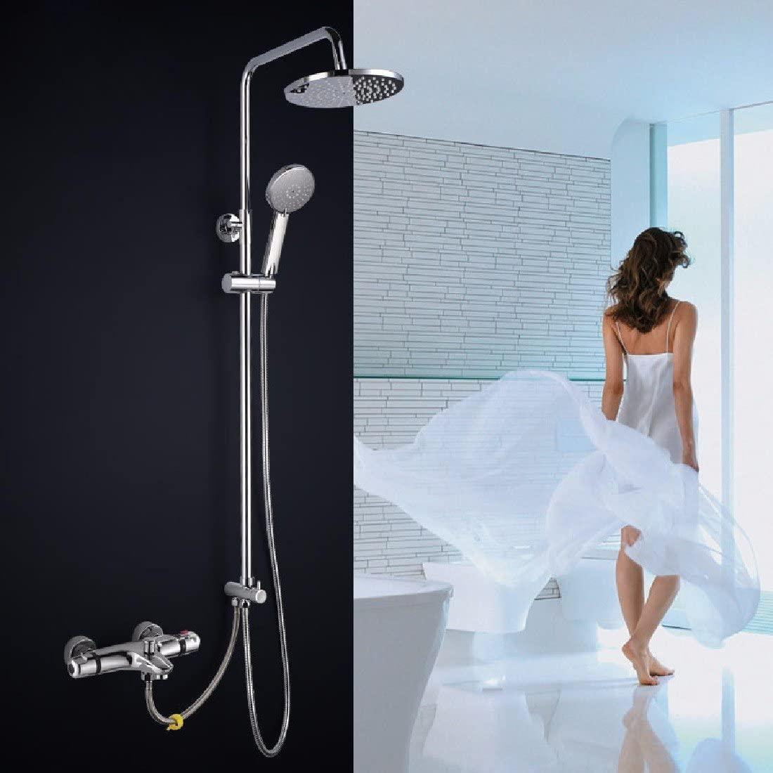 WAWZJ Bathroom Shower Set Creative Split Copper Bathtub Constant Temperature Shower Shower Set Air Pressurized Shower Set,B