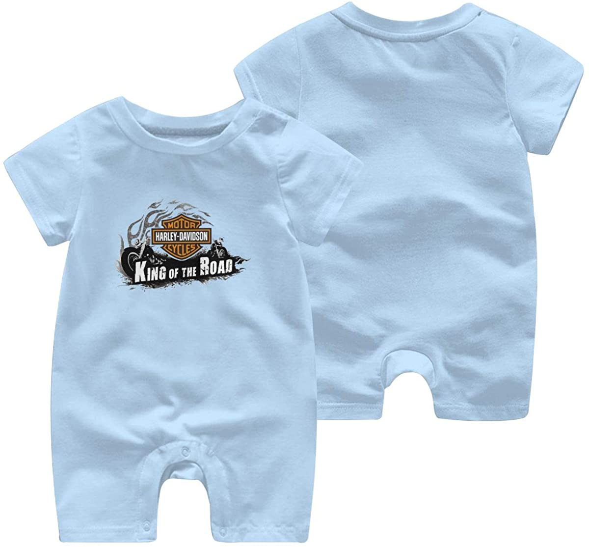 Harley Davidson One Piece Outfits Baby Solid Color Rompers with Button Kids Short Sleeve Playsuit Jumpsuits Cotton Clothing 0-3 Months Sky Blue