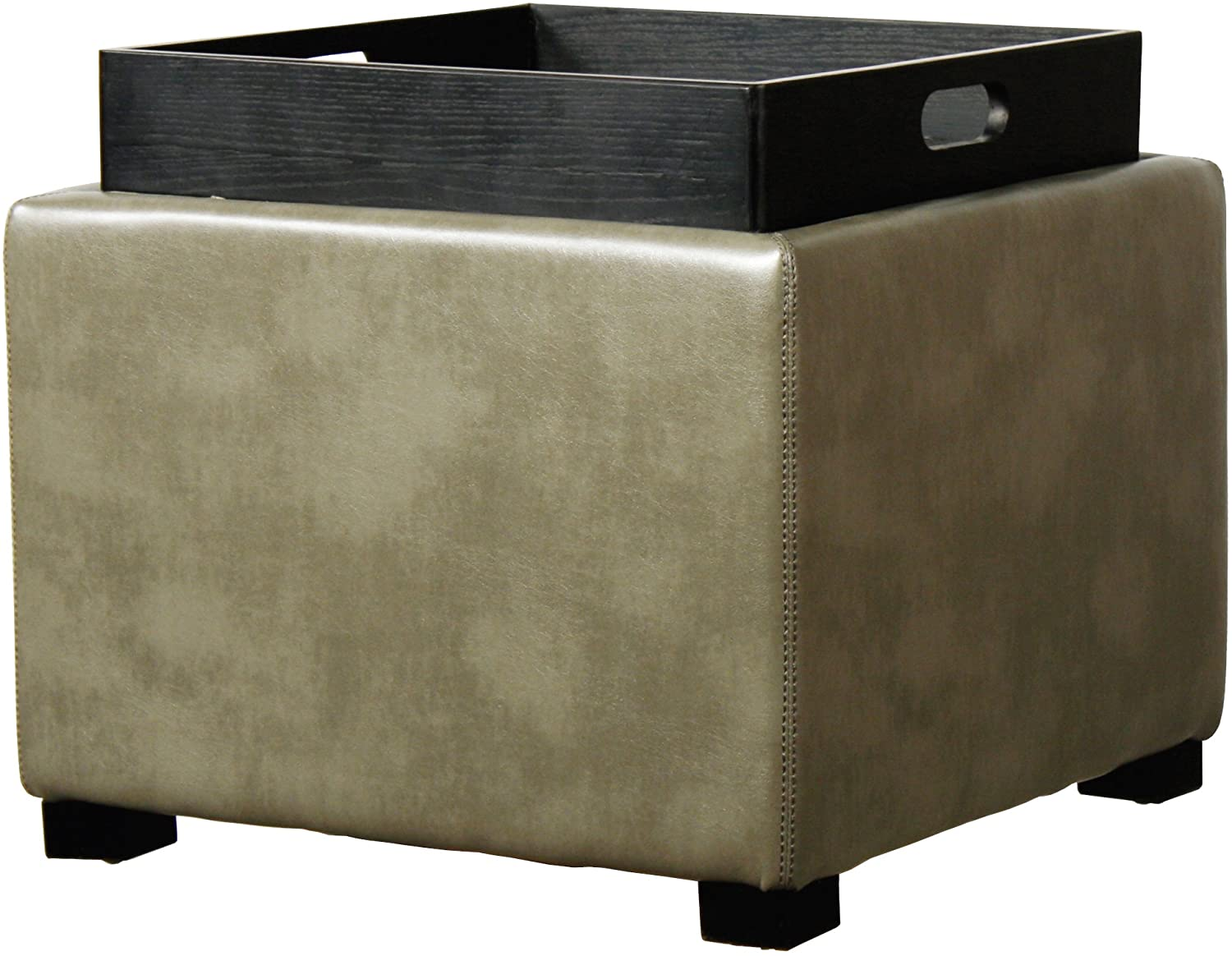 New Pacific Direct Cameron Square Bonded Leather Ottoman with Tray,Black Legs,Quarry Gray
