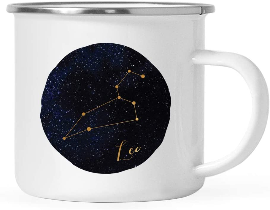 Andaz Press Astrological Zodiac Star Sign 11oz. Stainless Steel Campfire Coffee Mug Gift, Leo Blue Gold Galaxy Constellation, 1-Pack, Horoscope Leo Office Cup Gifts Ideas