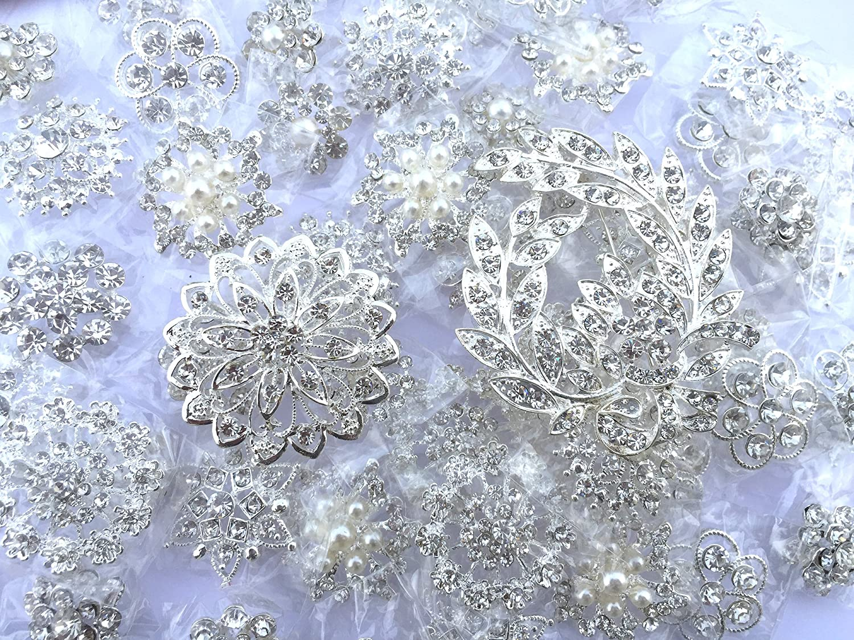 50 pcs Assorted Large Rhinestone Button Brooch Embellishment Set Pearl Wedding Brooch US Seller BT548