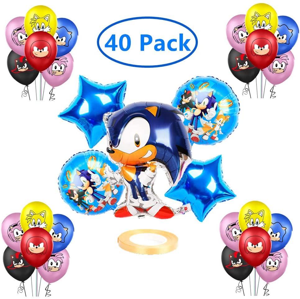 40 Pack Sonic the Hedgehog Balloons Children Birthday Doll Balloons Decorations for Children's Party Supplies