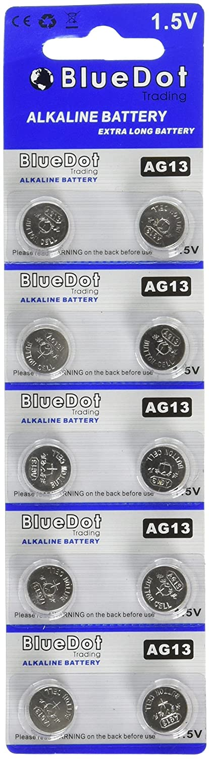 BlueDot Trading AG13 LR44 Button Cell Battery, 10 Count