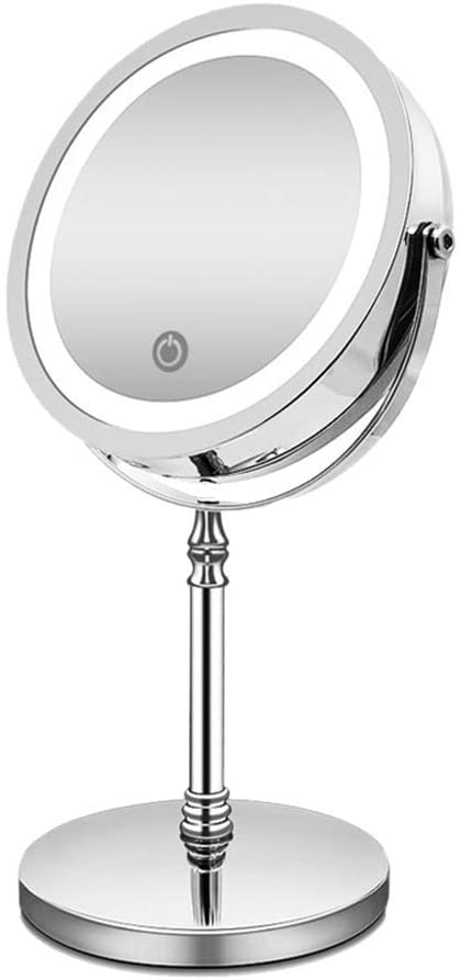 PLLP Makeup Mirror,European-Style Led Makeup Mirror with Light Professional Desk Desktop Intelligent Fill Light Charging Magnification Double-Sided Princess Mirror,Silver