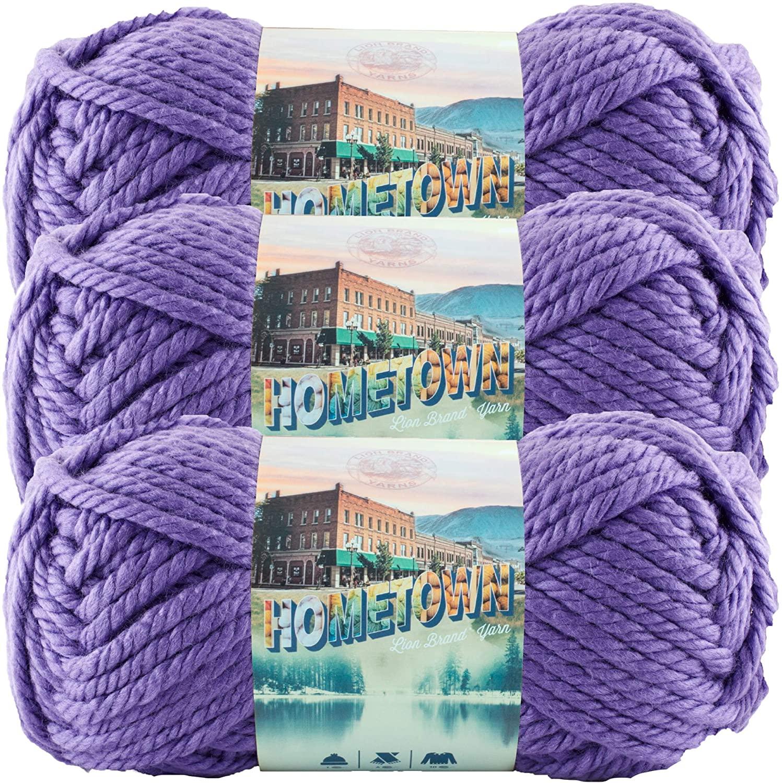 Lion Brand Yarn (3 Pack) 135-147J Hometown Yarn, Minneapolis Purple