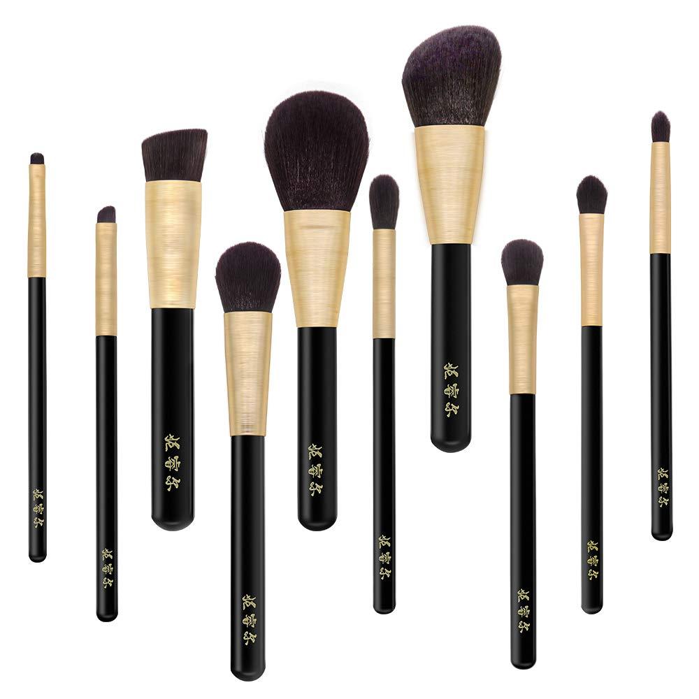 Neria 10PCS Makeup Brushes Set Blending Brush Eyeshadow Highlighter Blush Foundation Makeup Brushes Set Professional
