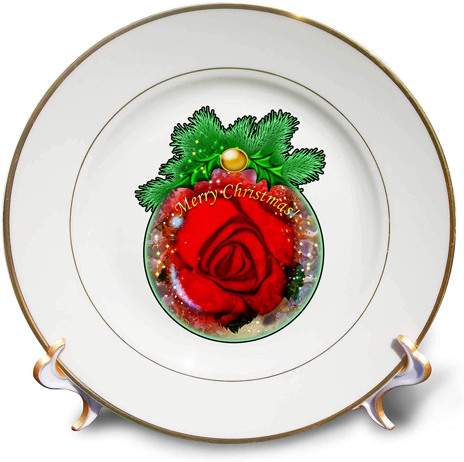 3dRose Dream Essence Designs-Holidays - Festive Christmas Ornament with red Rose Inside, Digital Art - 8 inch Porcelain Plate (cp_324471_1)