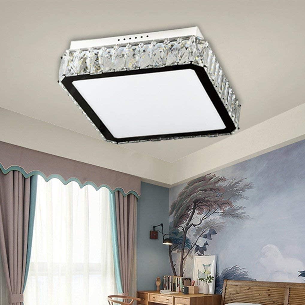 BOSSLV Ceiling Lamp Modern Luxury Design Square Lamp Acrylic Crystal Decorative Metal Ceiling Lamp Parlor Lamp Led 24W 6000K White Light