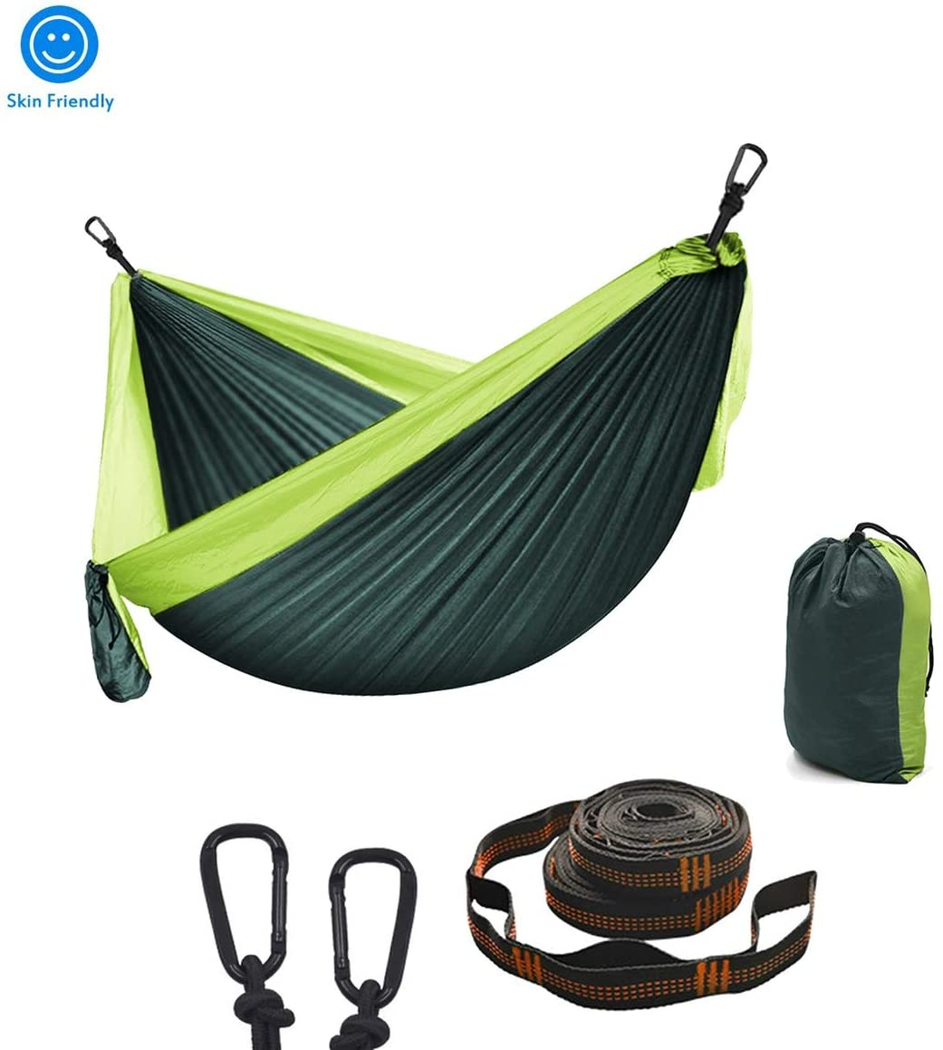 XXJF Camping Hammock Portable with 2 Tree Straps & Carabiners, Reinforced 450 Pound Capacity Single Portable Hammocks Parachute Fabric 210t Nylon for Travel Beach Yard Backyard Garden