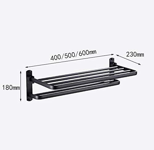 WYFGJDHT Foldable Double Towel Bar Towel Rack, Wall Mounted Towel Rail Bathroom Shelf Space Aluminum Bathroom Accessorie-Black 60cm(24inch)
