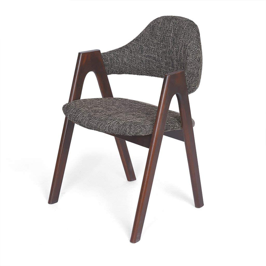 QTQZDD Dining Chair Chair Solid Wood Cloth Art Sponge Filling Backrest Dining Chair Multifunction Can Be Used As Book A Desk/Computer/Cafe/Makeup Chair (Color : 4#, Size : A)
