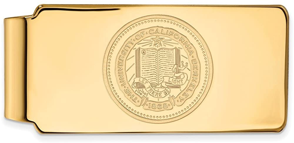 Solid 10k Yellow Gold Official University of California Berkeley Slim Business Credit Card Holder Money Clip Crest - 53mm x 24mm