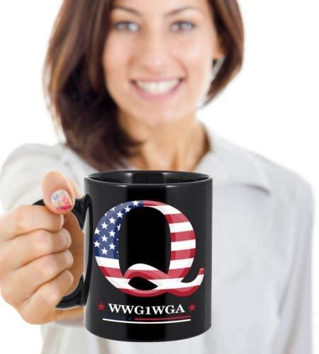 Q Anon WWG1WGA QAnon Coffee Mug, Great Awakening MAGA USA Patriots Tea Cup Gifts