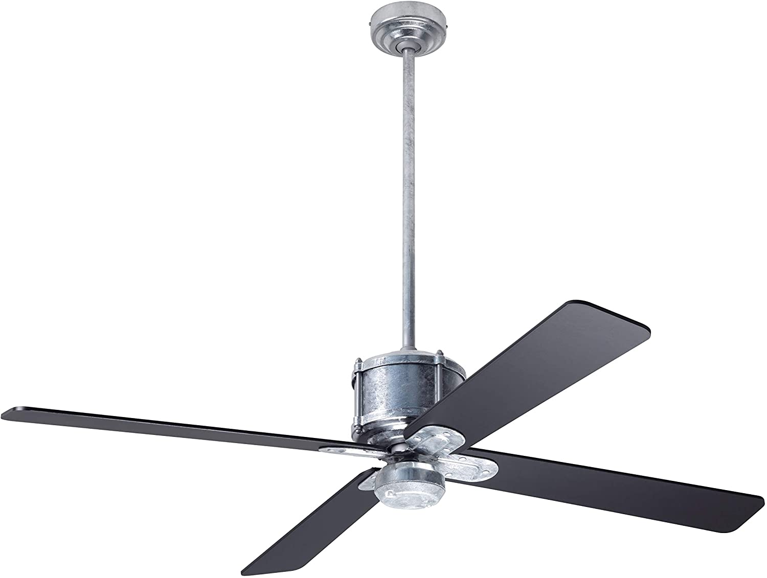 Modern Fan Co IND-GV-50-BK-NL-RC Contemporary Modern 50``Ceiling Fan from Industry DC Collection in Pwt, Nckl, B/S, Slvr. Finish,