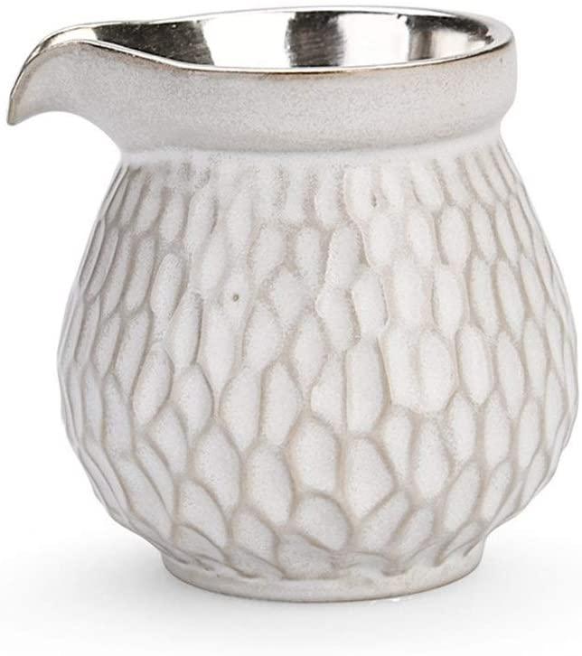 Bin Zhang Ceramic grain gilt Silver Hammer fair cup of tea sea fair cup of hand-uniform tea cup sea ceramic tea ceremony, Japanese-style tea set points (Color : Hammered gilt silver)