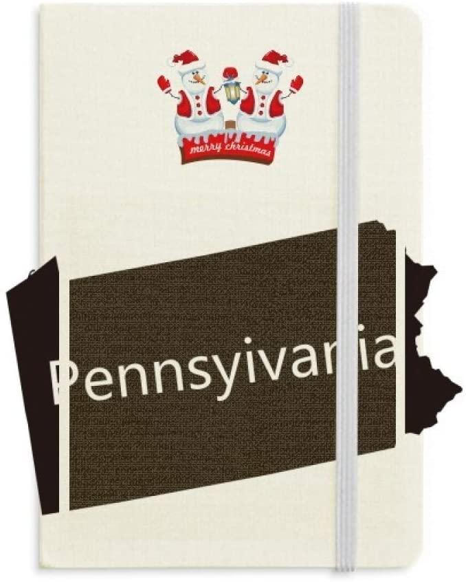 Pennsylvania USA Map Outline Christmas Snowman Notebook Thick Hardcover
