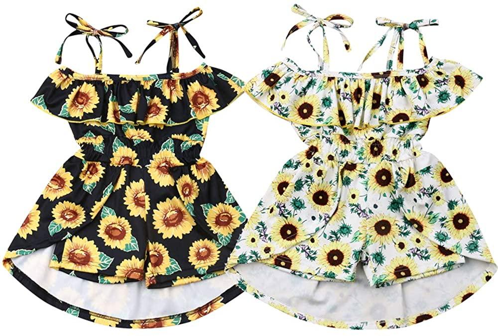 Toddler Baby Girls Romper Flower Suspender Off Shoulder One-Piece Ruffle Floral Bodysuits Jumpsuit Summer Outfit Set