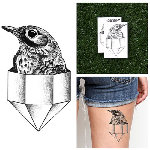 Tattify Bird In Crystal Temporary Tattoo - On Pointe (Set of 2) - Other Styles Available - Fashionable Temporary Tattoos