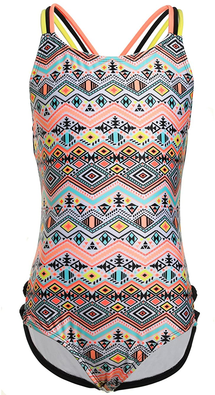 LEINASEN One Piece Swimsuits for Girls, Strap Crossback Tribal Pattern Printing Bathing Suit for Kids