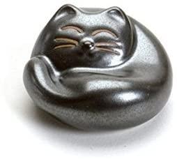 Cat Sleeping Matt Black Round Japanese Chopstick Rest; 1 Rest