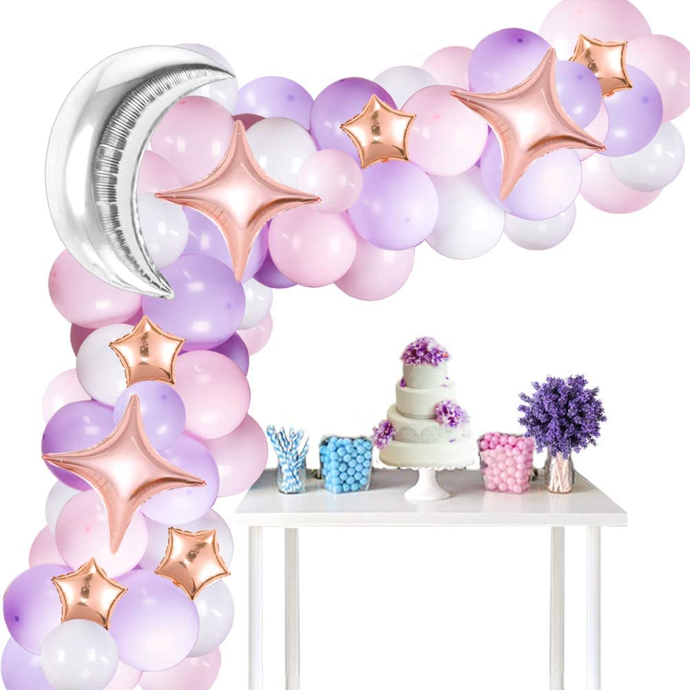 Pink Purple Balloon Garland Set with Moon and Star Balloons, White Purple Balloons for Baby Shower Party Decorations Twinkle Twinkle Little Star Theme Party