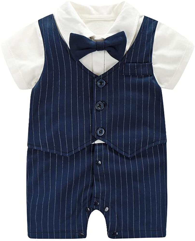 Fairy Baby Summer Baby Boy Gentleman Outfit Formal Short Sleeve Bowtie Tuxedo Dress Suit