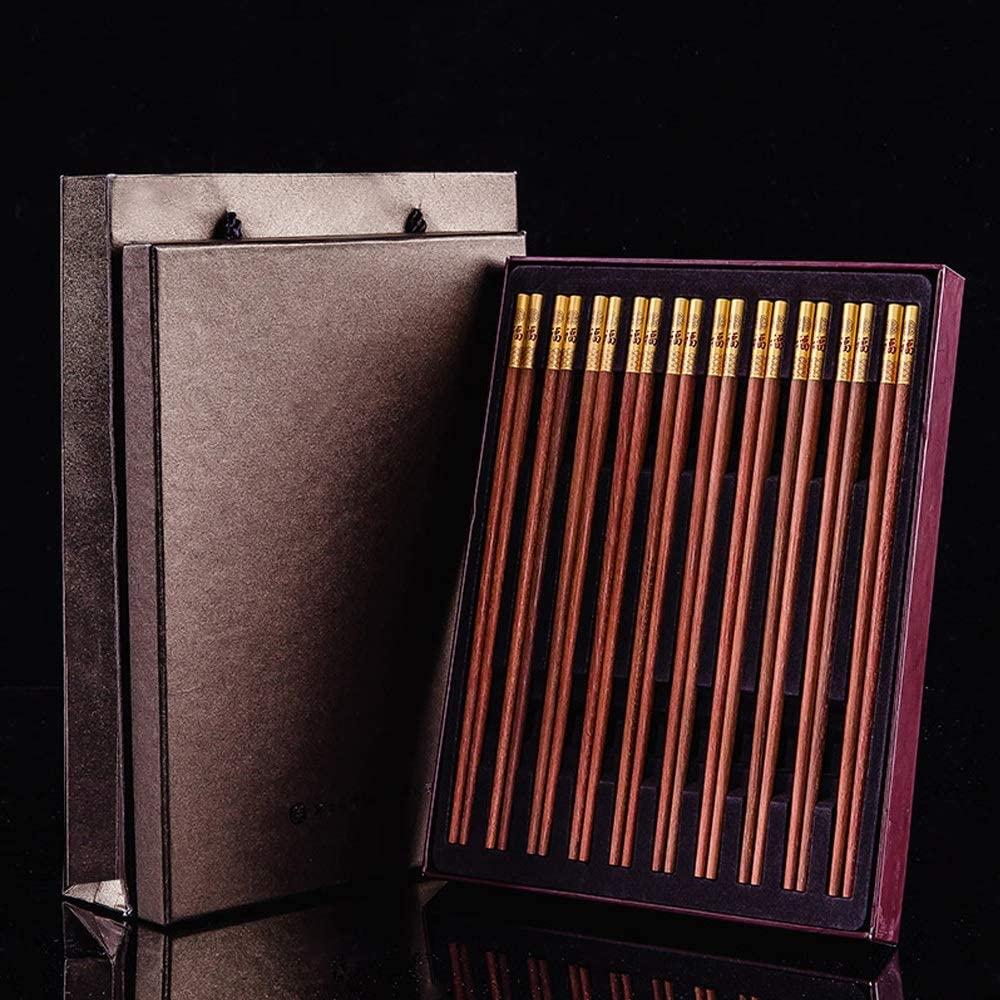 Waitousanqi Chopsticks - High-Grade Mahogany Chopsticks, Natural Paint-Free, Wax-Free Mildew, 10 Pairs, Length 25cm Chopsticks