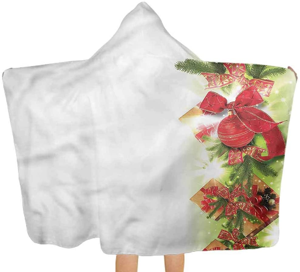 Baby Hooded Towel Christmas, Ribbons and Baubles Toddler Hooded Beach Bath Towel for Toddlers, Ultra Soft, Super Absorbent Thick 51.5x31.8 Inch