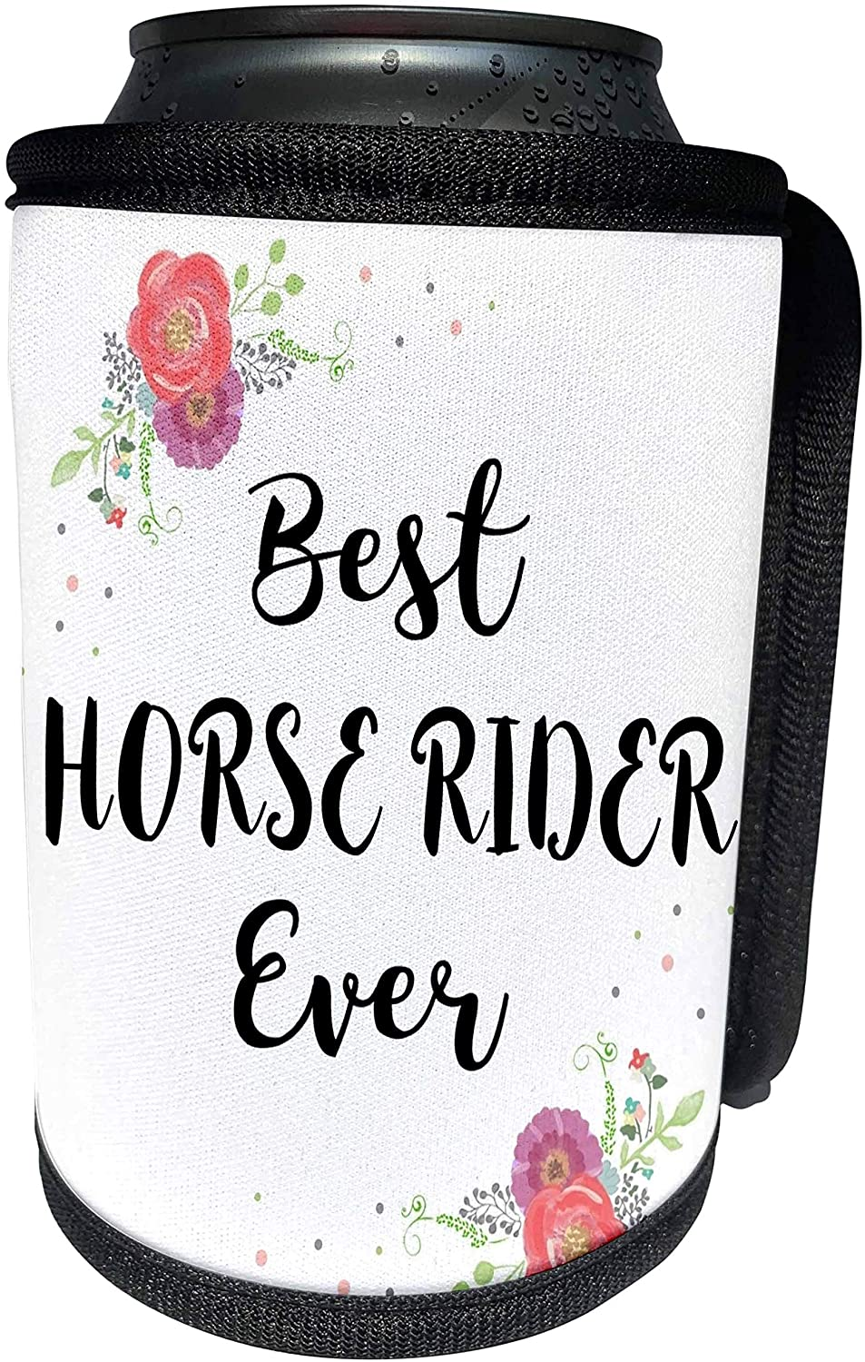 3dRose InspirationzStore - Love Series - Floral Best Horse Rider Ever watercolor pink flowers horserider riding - Can Cooler Bottle Wrap (cc_317282_1)