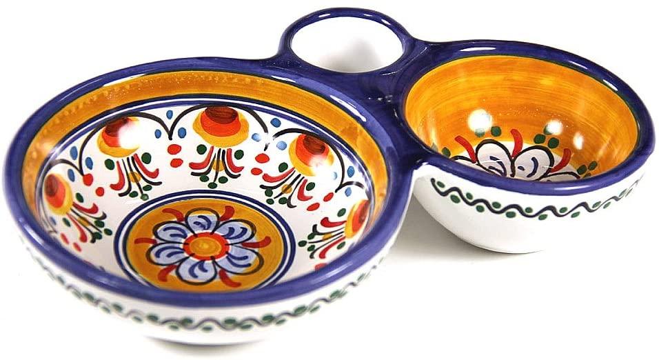Blue and Yellow Ceramic Olive Dish by La Tienda