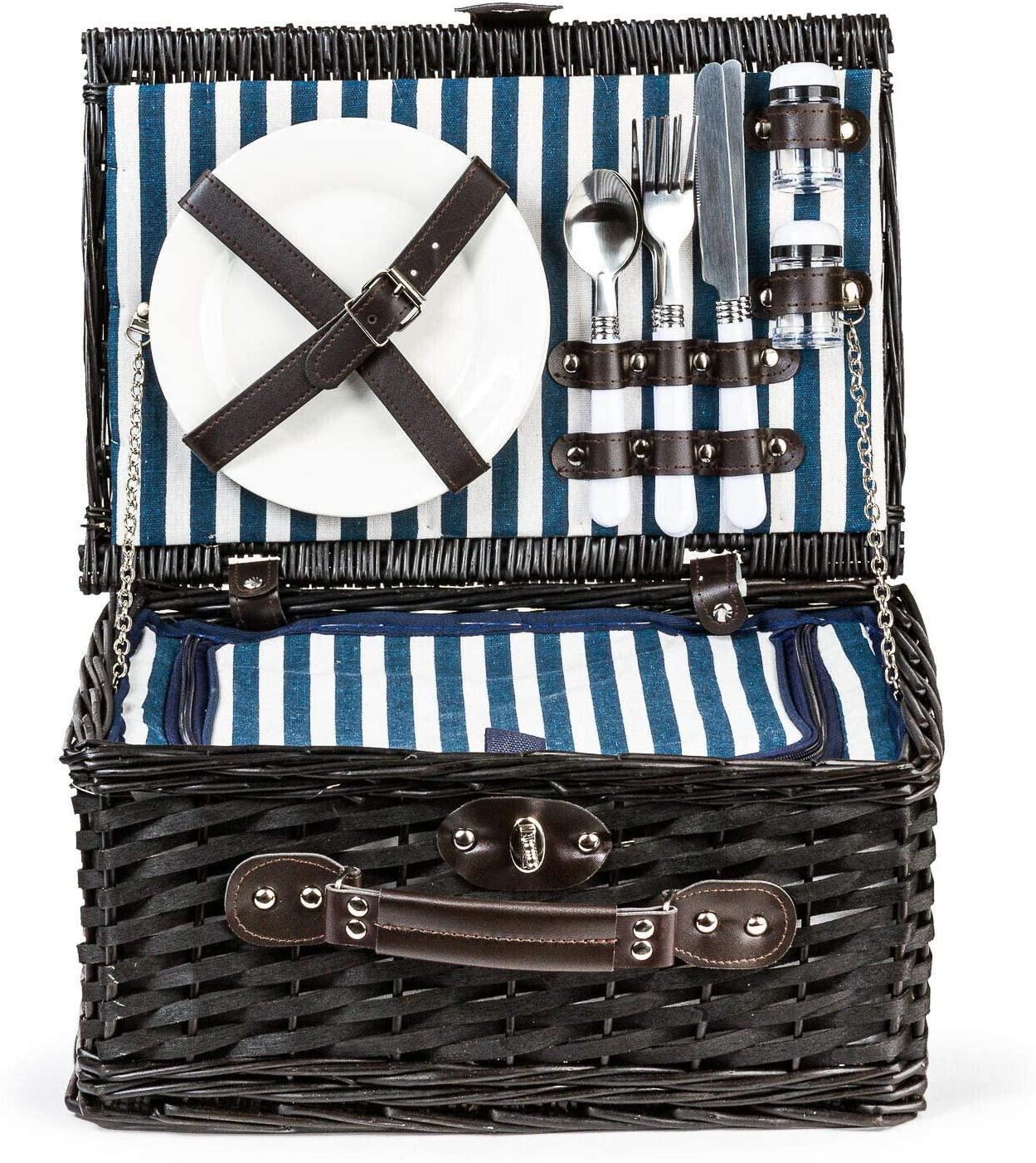 Rantepao - Dark Wicker Cooler Picnic Basket Gift Set for 2 Plates Cups Utensils Blue Stripe