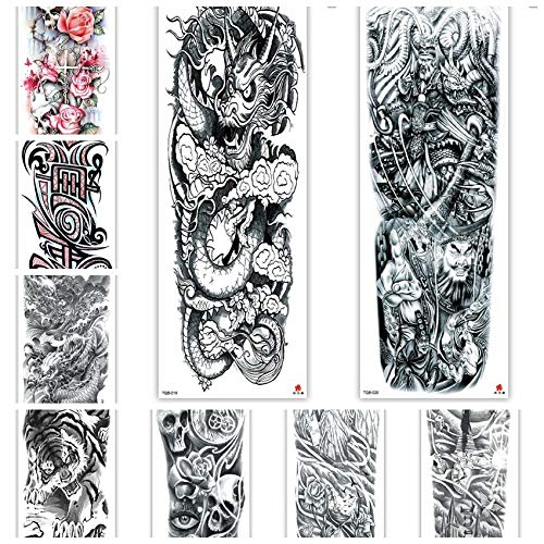 12Sheets Temporary Sleeve Tattoos-Large Full Arm Temporary Tattoos Fake Body Art Arm Tattoo Black Tattoo Body Stickers for Kids Adults (TQB015~026)