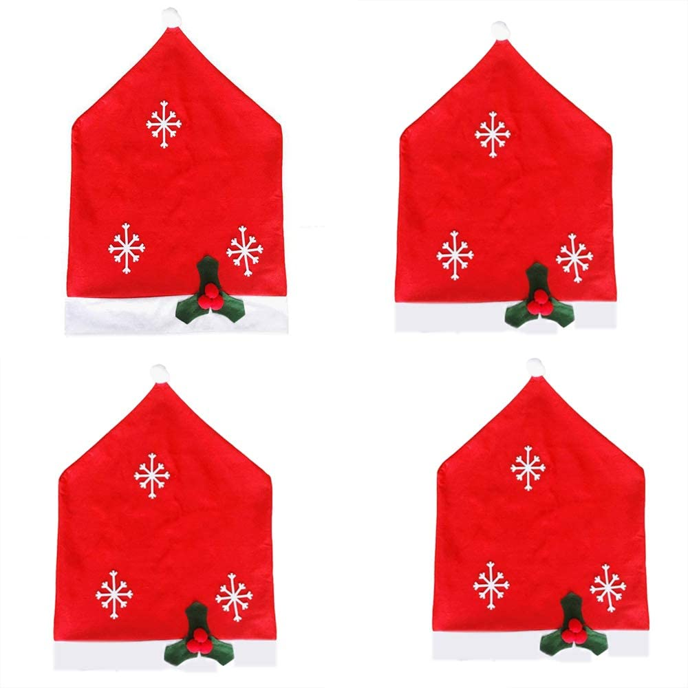 AUEDC Christmas Santa Hat Chair Covers, Soft and Comfortable Snowflake Christmas Dinner Decorations Christmas Chair Cover for Xmas Holiday Party Festive Decoration,4packs