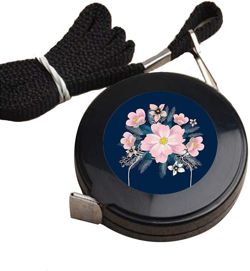 Tape Measure for Body Pink Flower Measuring Tape for Body Cloth Measuring Tape for Sewing Soft Fashion Retractable Black Tape Measure Body Measuring Tape Set, Dual Sided