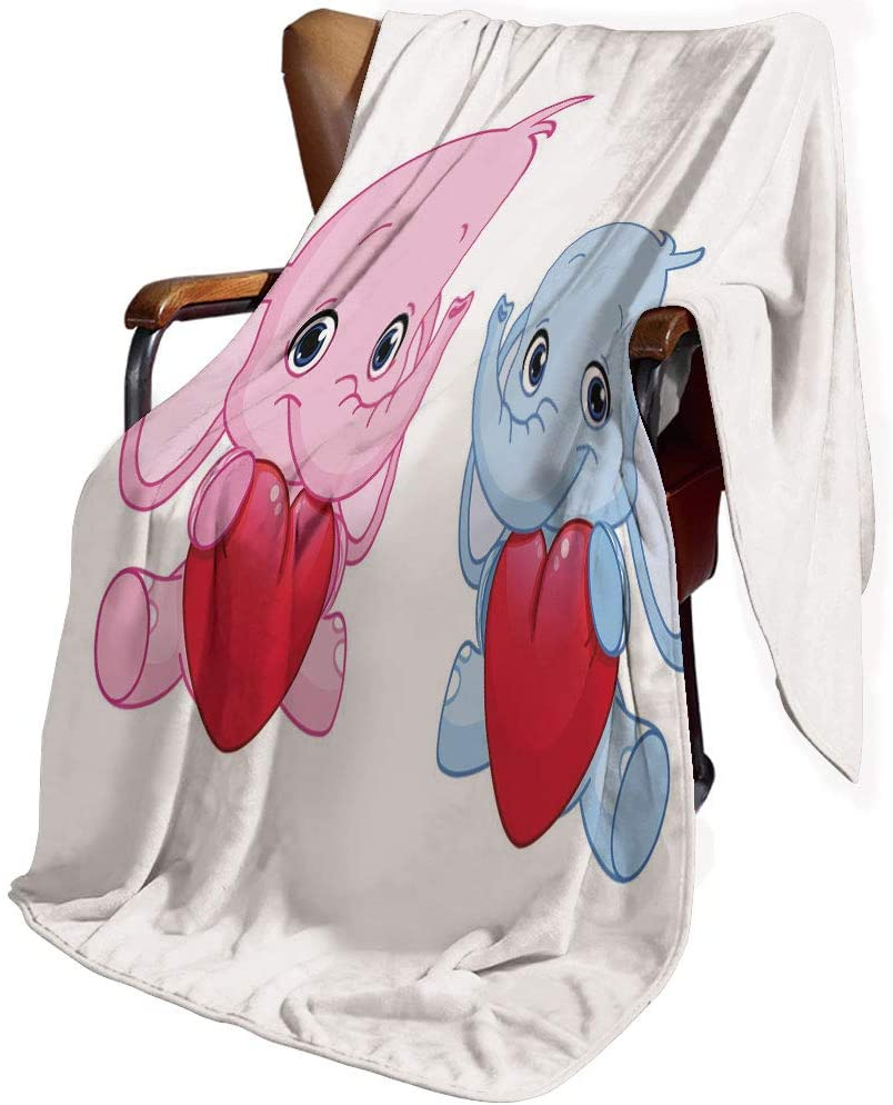 SfeatrutMAT Flannel Microfiber Throw Blanket,Elephant Nursery,Pink and Blue Kid Infant Elephants Holding Hearts Smiling Twins Decorative,Blanket for Baby 30x40inch