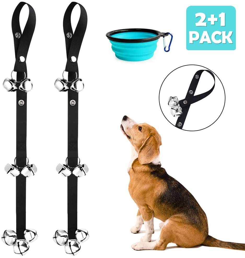 Yicostar 2 Pack Upgraded Dog Doorbell Potty Training Puppy Bells Adjustable Door Bell, 7 Extra Large Loud Doorbells with Collapsible Dog Bowl for Door Knob, House Training - 3 Snaps
