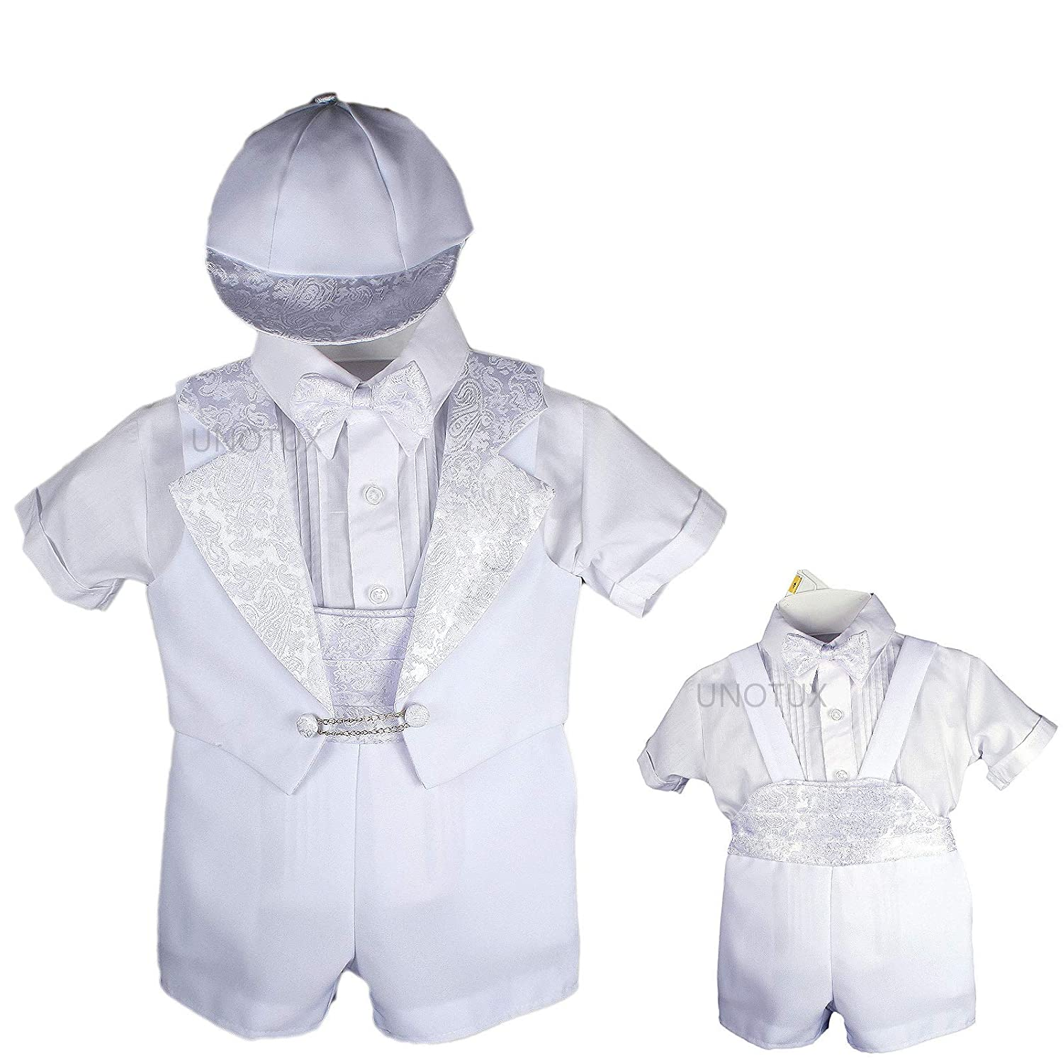 Baptism Christening Boy Formal Vest Shorts White Suit Gown Outfit Hat 0-5 (2:(6-12 Months))