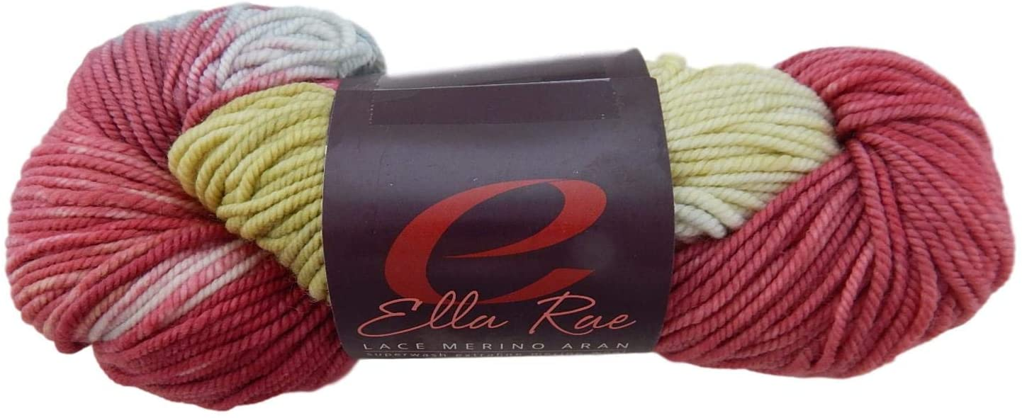 Ella Rae Yarn - Lace Merino Aran Hand Painted - Cottontail,Rose Quartz 1002